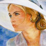 Lady with Blue Eyes and White Hat
