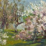 The Orchard - British Pastel Painting
